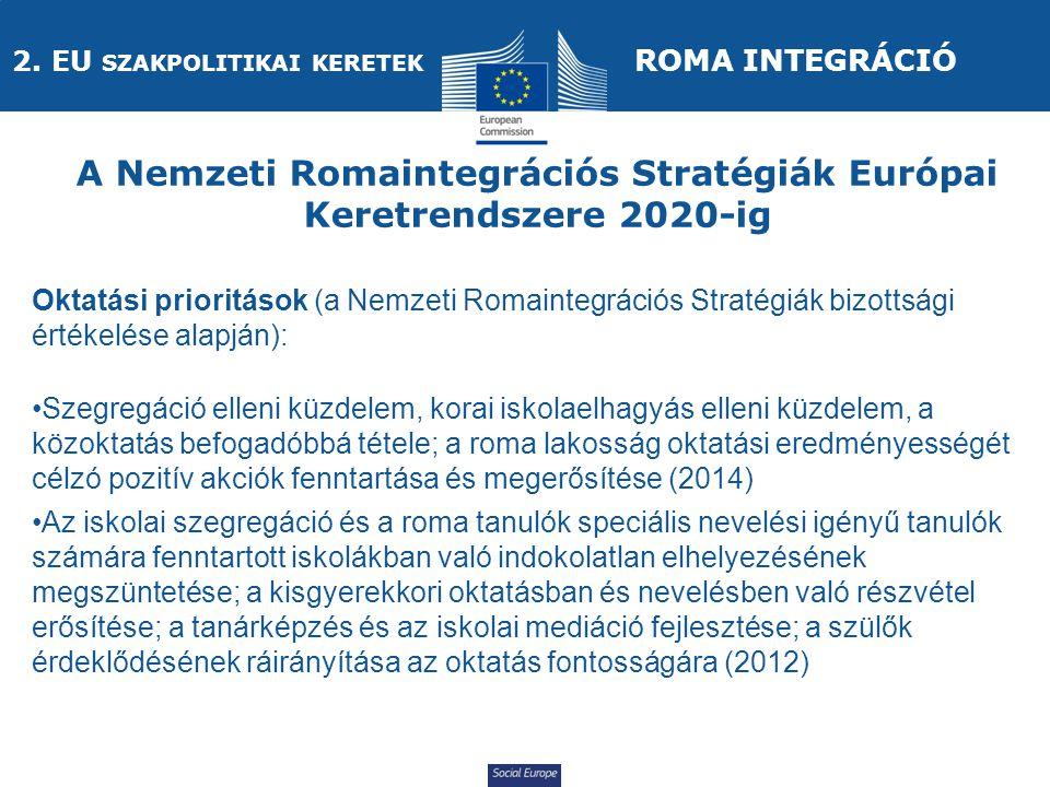 Social Europe Oktatási prioritások (a Nemzeti Romaintegrációs Stratégiák bizottsági értékelése alapján): Szegregáció elleni küzdelem, korai iskolaelhagyás elleni küzdelem, a közoktatás befogadóbbá tétele; a roma lakosság oktatási eredményességét célzó pozitív akciók fenntartása és megerősítése (2014) Az iskolai szegregáció és a roma tanulók speciális nevelési igényű tanulók számára fenntartott iskolákban való indokolatlan elhelyezésének megszüntetése; a kisgyerekkori oktatásban és nevelésben való részvétel erősítése; a tanárképzés és az iskolai mediáció fejlesztése; a szülők érdeklődésének ráirányítása az oktatás fontosságára (2012) A Nemzeti Romaintegrációs Stratégiák Európai Keretrendszere 2020-ig ROMA INTEGRÁCIÓ 2.