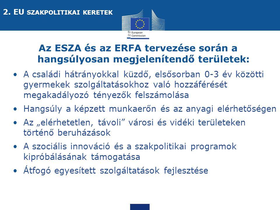 """Social Europe Az ESZA és az ERFA tervezése során a hangsúlyosan megjelenítendő területek: A családi hátrányokkal küzdő, elsősorban 0-3 év közötti gyermekek szolgáltatásokhoz való hozzáférését megakadályozó tényezők felszámolása Hangsúly a képzett munkaerőn és az anyagi elérhetőségen Az """"elérhetetlen, távoli városi és vidéki területeken történő beruházások A szociális innováció és a szakpolitikai programok kipróbálásának támogatása Átfogó egyesített szolgáltatások fejlesztése 2."""