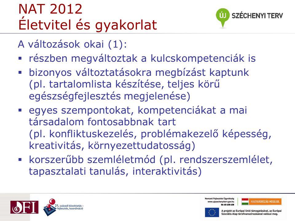 NAT 2012 Életvitel és gyakorlat A változások okai (1):  részben megváltoztak a kulcskompetenciák is  bizonyos változtatásokra megbízást kaptunk (pl.