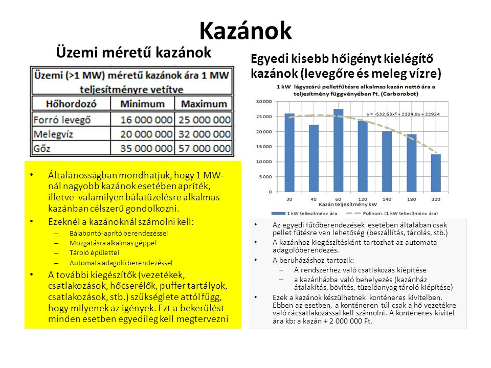 Kazánok Üzemi méretű kazánok Általánosságban mondhatjuk, hogy 1 MW- nál nagyobb kazánok esetében apríték, illetve valamilyen bálatüzelésre alkalmas ka