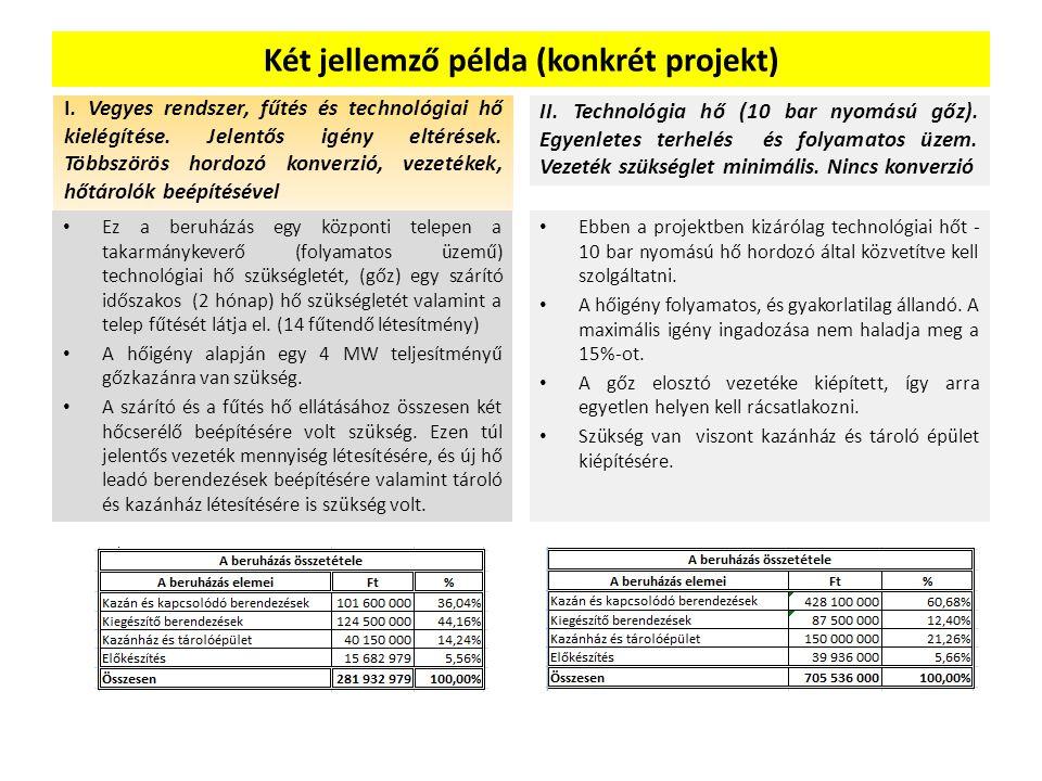 Két jellemző példa (konkrét projekt) I. Vegyes rendszer, fűtés és technológiai hő kielégítése. Jelentős igény eltérések. Többszörös hordozó konverzió,