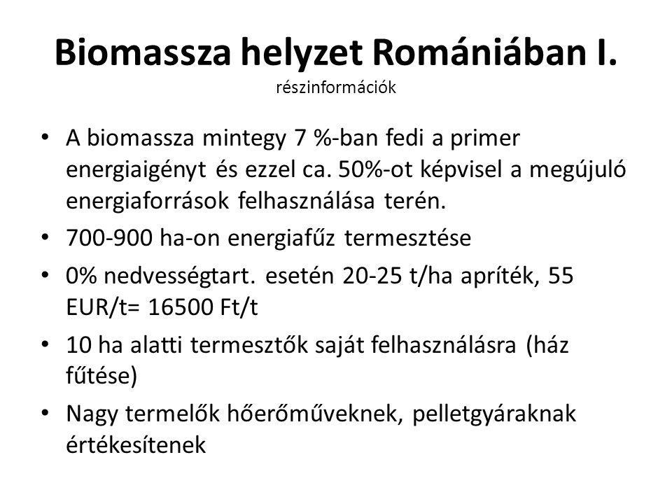 Biomassza helyzet Romániában I. részinformációk A biomassza mintegy 7 %-ban fedi a primer energiaigényt és ezzel ca. 50%-ot képvisel a megújuló energi