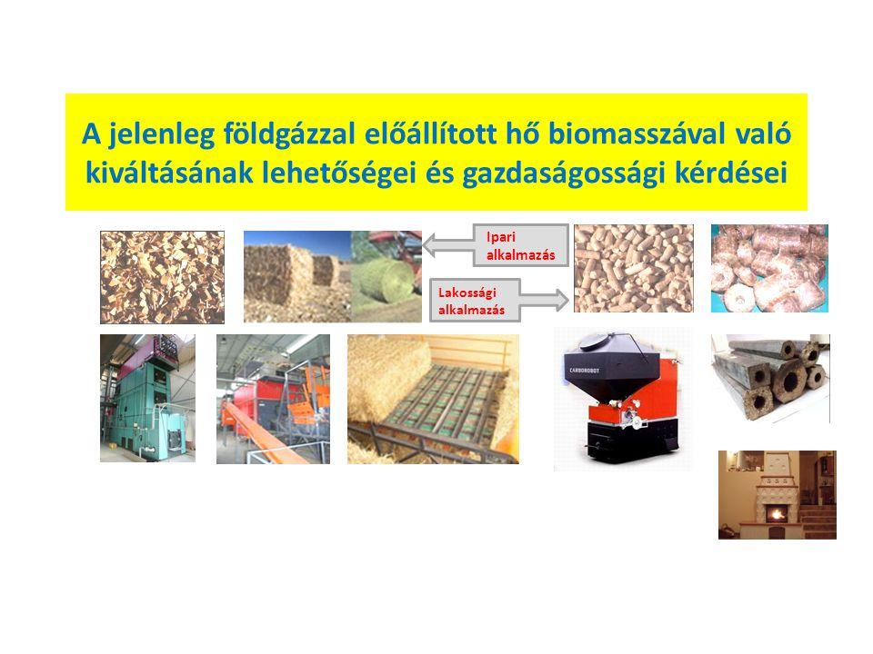 A jelenleg földgázzal előállított hő biomasszával való kiváltásának lehetőségei és gazdaságossági kérdései Ipari alkalmazás Lakossági alkalmazás