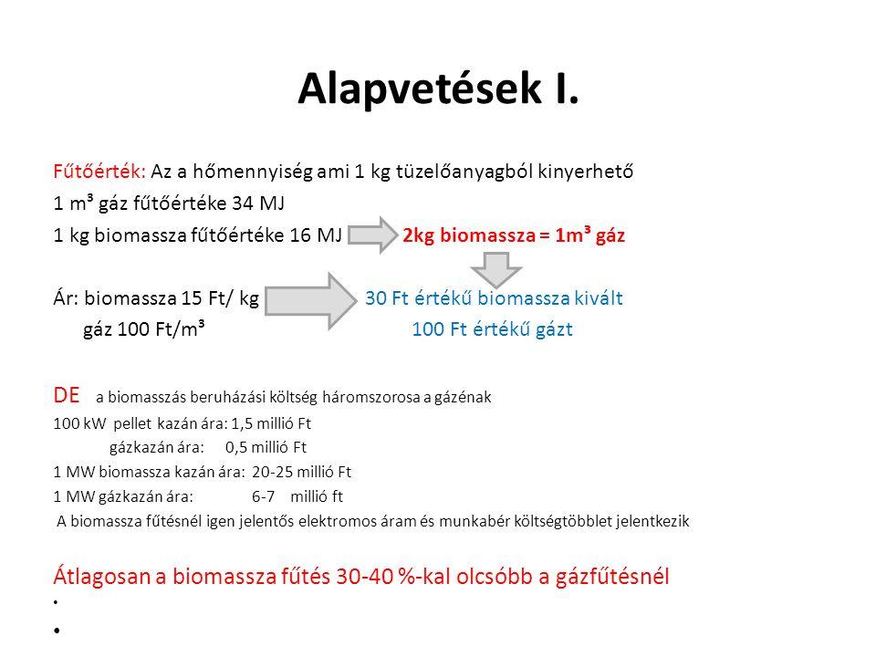 Alapvetések I. Fűtőérték: Az a hőmennyiség ami 1 kg tüzelőanyagból kinyerhető 1 m³ gáz fűtőértéke 34 MJ 1 kg biomassza fűtőértéke 16 MJ 2kg biomassza