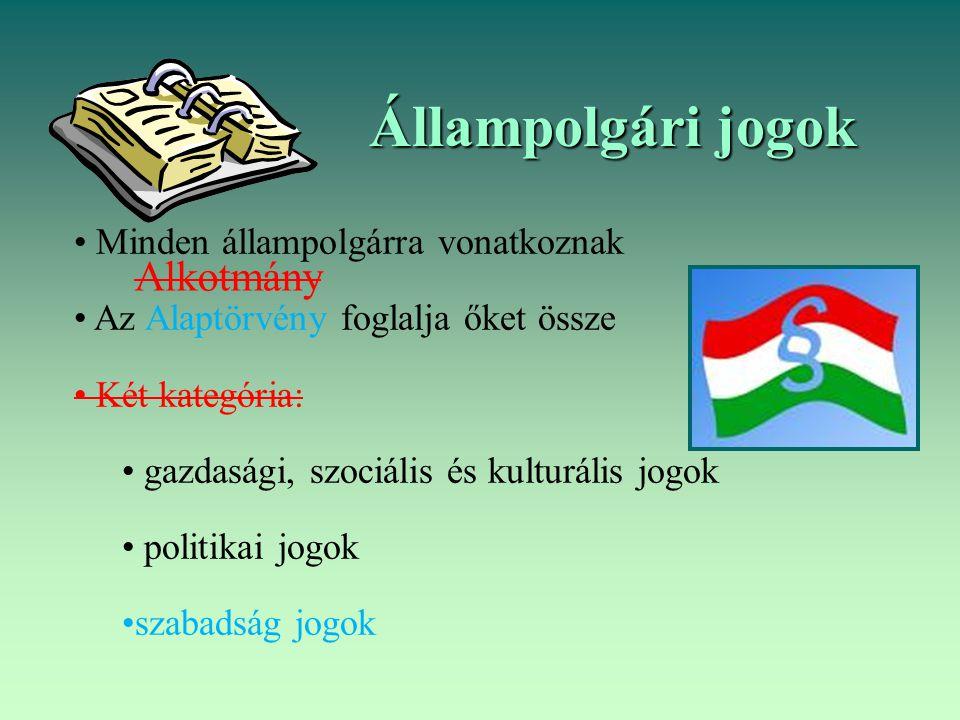 Állampolgári jogok Minden állampolgárra vonatkoznak Az Alaptörvény foglalja őket össze Két kategória: gazdasági, szociális és kulturális jogok politik