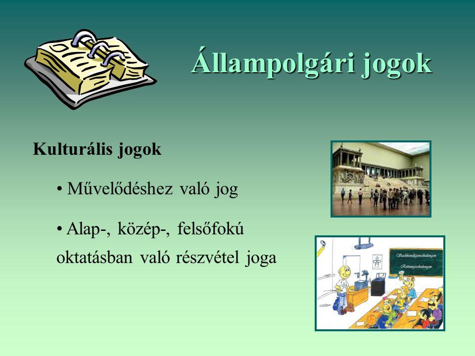Állampolgári jogok Kulturális jogok Művelődéshez való jog Alap-, közép-, felsőfokú oktatásban való részvétel joga