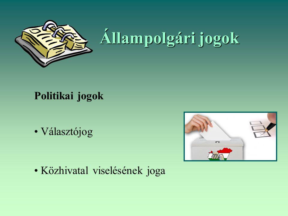 Állampolgári jogok Politikai jogok Választójog Közhivatal viselésének joga