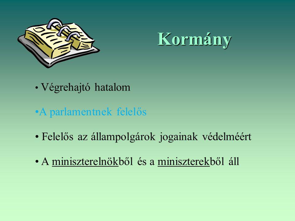 Kormány Végrehajtó hatalom A parlamentnek felelős Felelős az állampolgárok jogainak védelméért A miniszterelnökből és a miniszterekből áll