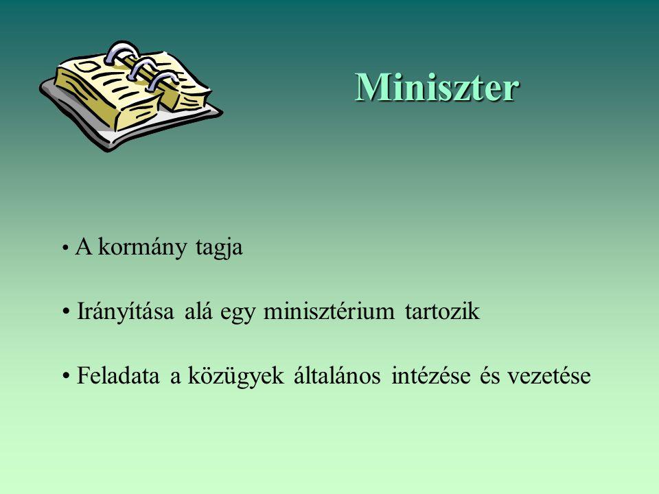 Miniszter A kormány tagja Irányítása alá egy minisztérium tartozik Feladata a közügyek általános intézése és vezetése