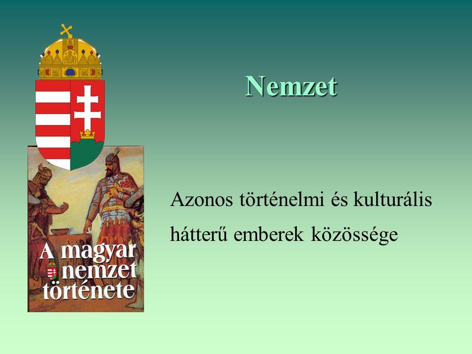 Nemzet Azonos történelmi és kulturális hátterű emberek közössége