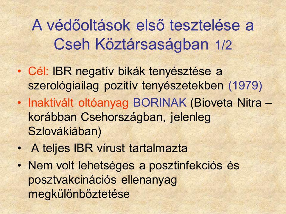A védőoltások első tesztelése a Cseh Köztársaságban 1/2 Cél: IBR negatív bikák tenyésztése a szerológiailag pozitív tenyészetekben (1979) Inaktivált o
