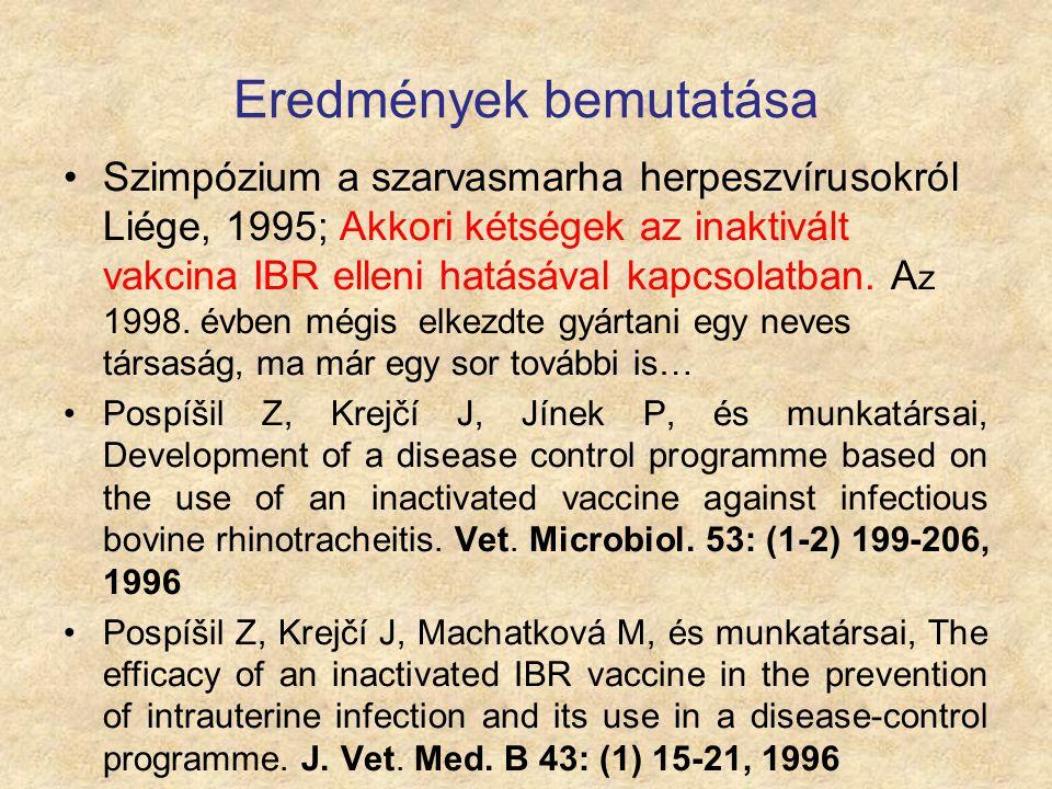 Eredmények bemutatása Szimpózium a szarvasmarha herpeszvírusokról Liége, 1995; Akkori kétségek az inaktivált vakcina IBR elleni hatásával kapcsolatban