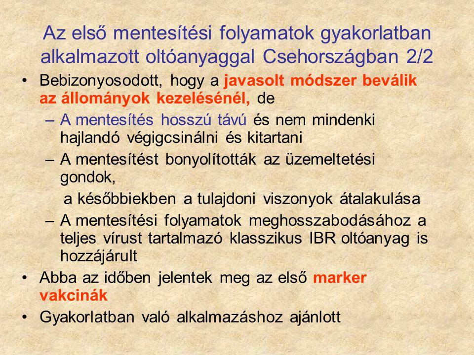 Az első mentesítési folyamatok gyakorlatban alkalmazott oltóanyaggal Csehországban 2/2 Bebizonyosodott, hogy a javasolt módszer beválik az állományok
