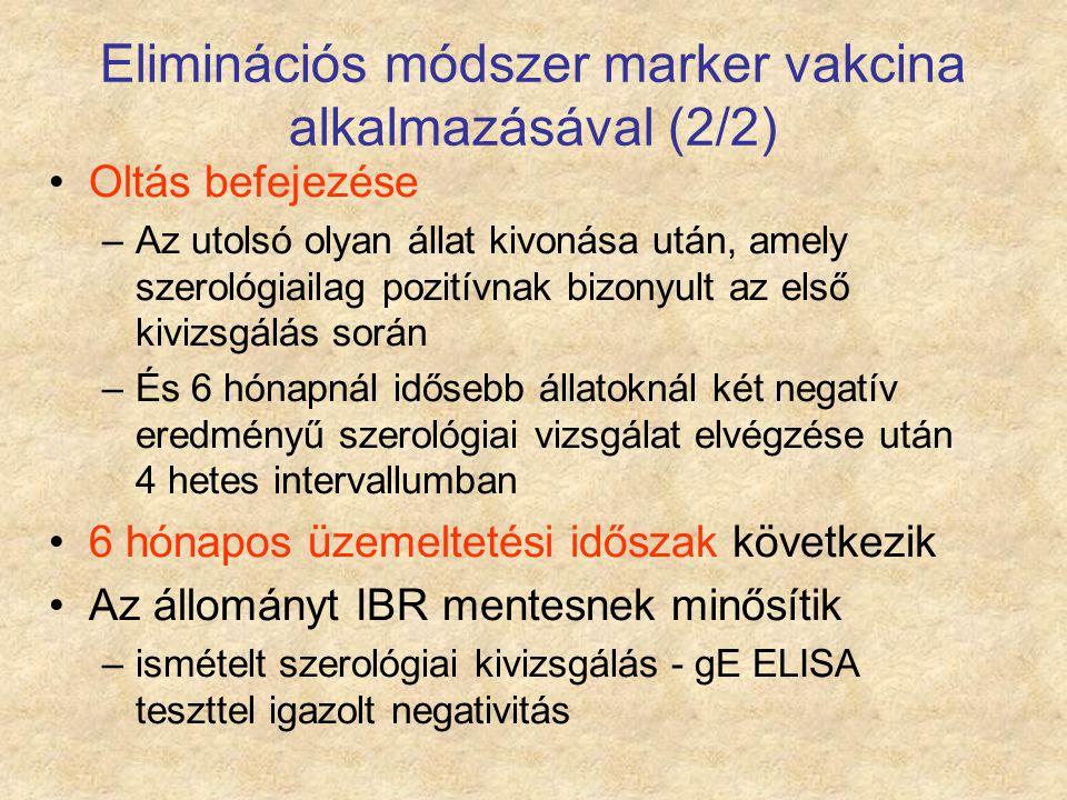 Eliminációs módszer marker vakcina alkalmazásával (2/2) Oltás befejezése –Az utolsó olyan állat kivonása után, amely szerológiailag pozitívnak bizonyu