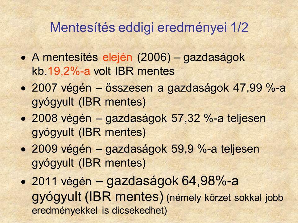 Mentesítés eddigi eredményei 1/2  A mentesítés elején (2006) – gazdaságok kb.19,2%-a volt IBR mentes  2007 végén – összesen a gazdaságok 47,99 %-a g