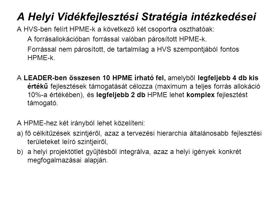 A Helyi Vidékfejlesztési Stratégia intézkedései A HVS-ben felírt HPME-k a következő két csoportra oszthatóak: A forrásallokációban forrással valóban párosított HPME-k.