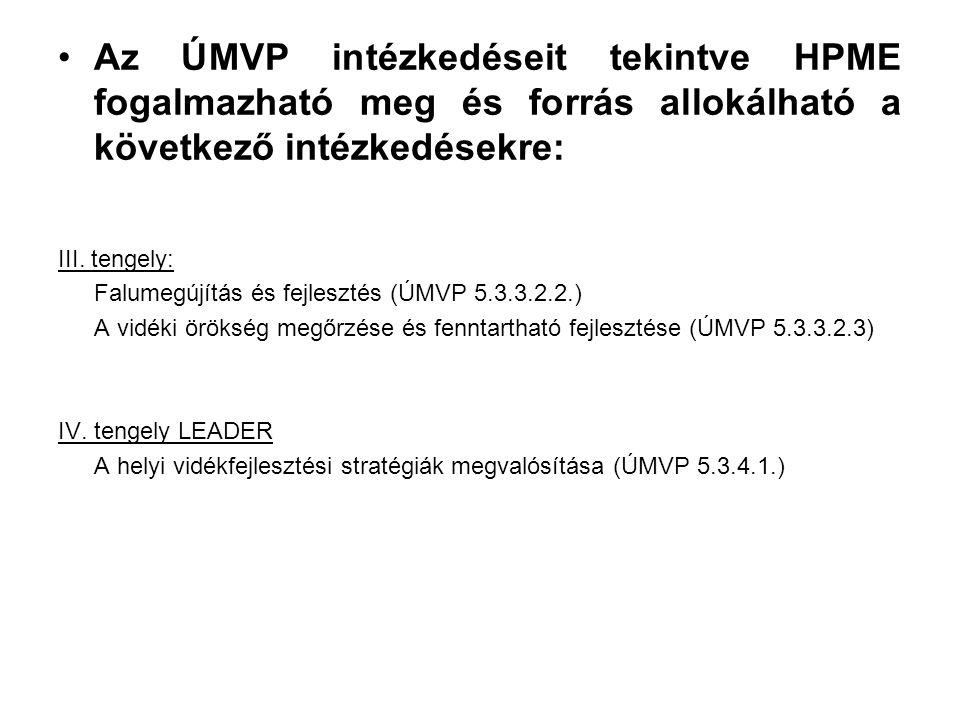 Az ÚMVP intézkedéseit tekintve HPME fogalmazható meg és forrás allokálható a következő intézkedésekre: III.