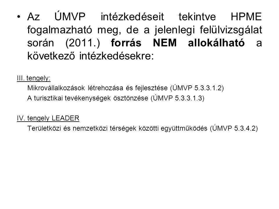 Az ÚMVP intézkedéseit tekintve HPME fogalmazható meg, de a jelenlegi felülvizsgálat során (2011.) forrás NEM allokálható a következő intézkedésekre: III.