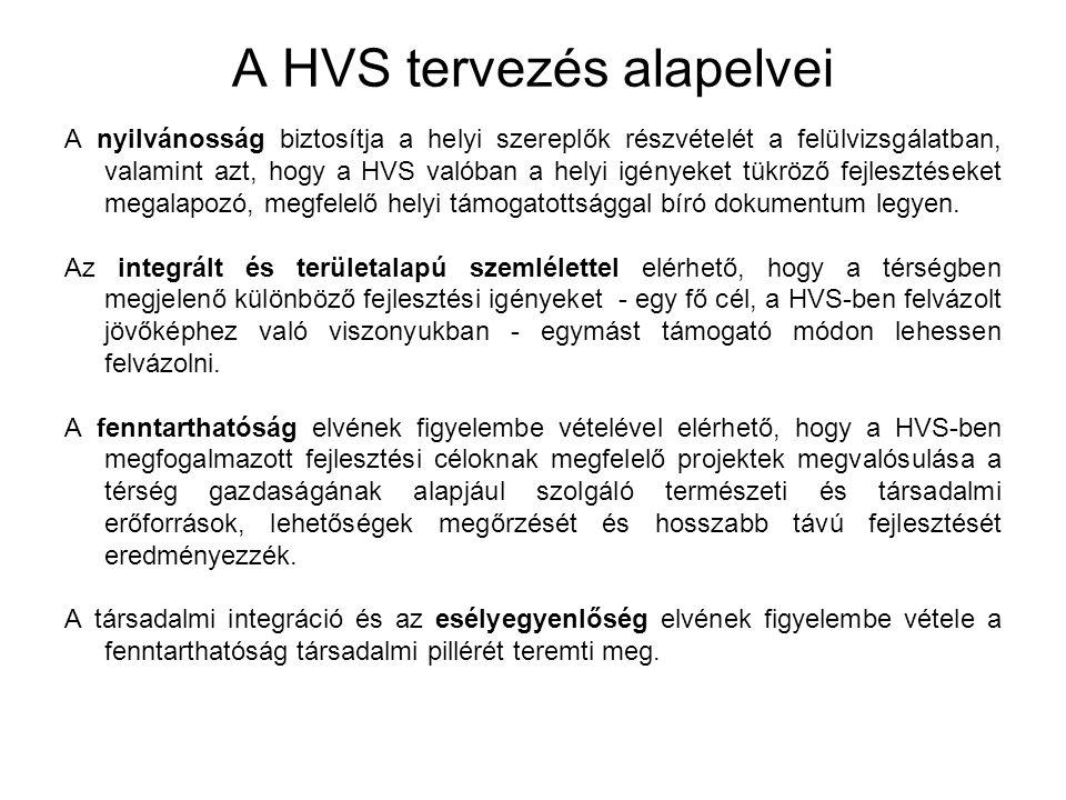 A HVS tervezés alapelvei A nyilvánosság biztosítja a helyi szereplők részvételét a felülvizsgálatban, valamint azt, hogy a HVS valóban a helyi igényeket tükröző fejlesztéseket megalapozó, megfelelő helyi támogatottsággal bíró dokumentum legyen.
