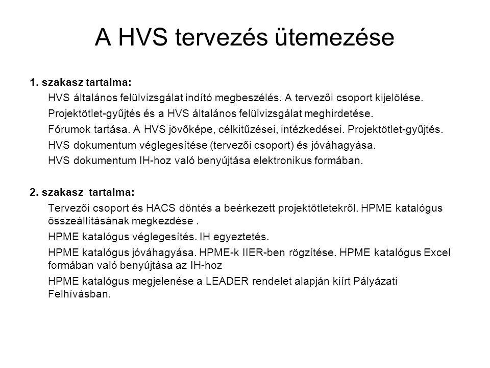 A HVS tervezés ütemezése 1. szakasz tartalma: HVS általános felülvizsgálat indító megbeszélés.