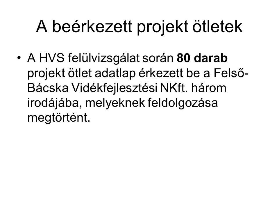 A beérkezett projekt ötletek A HVS felülvizsgálat során 80 darab projekt ötlet adatlap érkezett be a Felső- Bácska Vidékfejlesztési NKft.