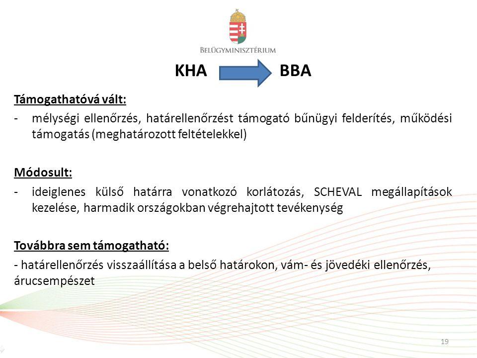KHA BBA Támogathatóvá vált: -mélységi ellenőrzés, határellenőrzést támogató bűnügyi felderítés, működési támogatás (meghatározott feltételekkel) Módos