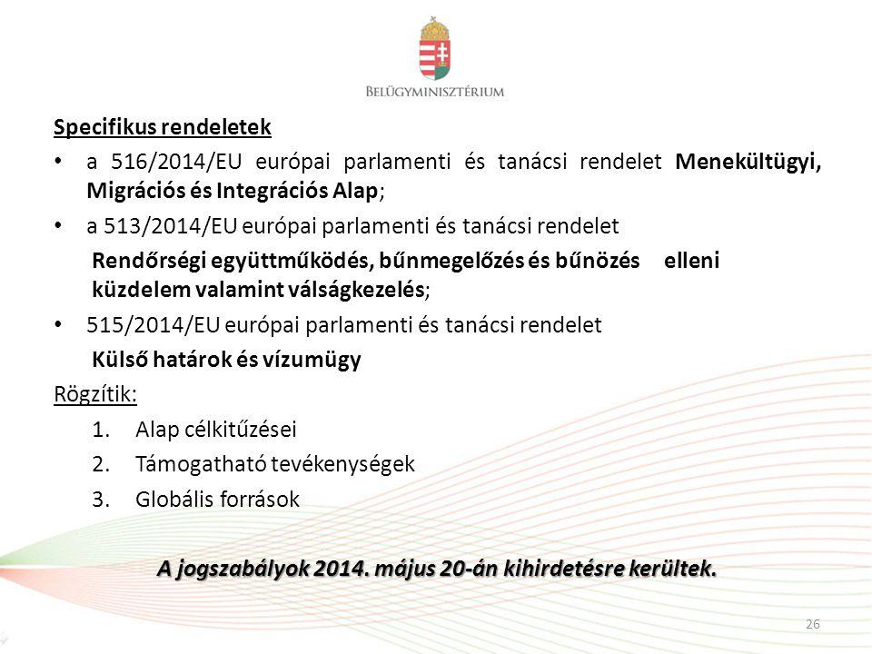 Specifikus rendeletek a 516/2014/EU európai parlamenti és tanácsi rendelet Menekültügyi, Migrációs és Integrációs Alap; a 513/2014/EU európai parlamen