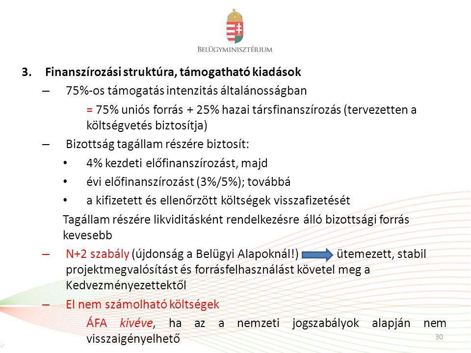 3.Finanszírozási struktúra, támogatható kiadások – 75%-os támogatás intenzitás általánosságban = 75% uniós forrás + 25% hazai társfinanszírozás (terve