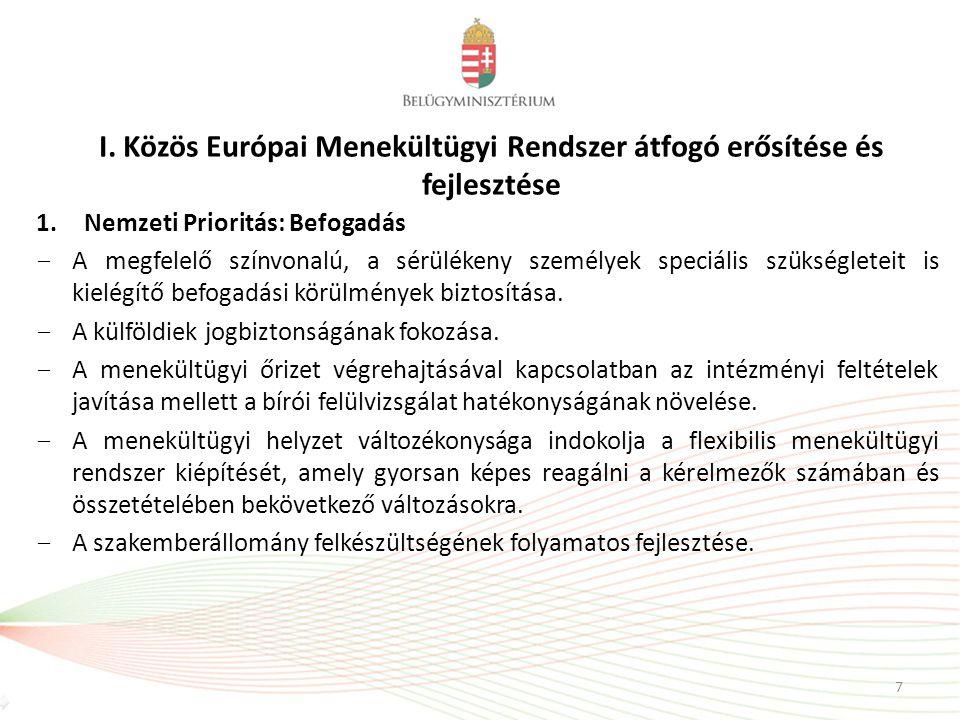 I. Közös Európai Menekültügyi Rendszer átfogó erősítése és fejlesztése 1.Nemzeti Prioritás: Befogadás − A megfelelő színvonalú, a sérülékeny személyek