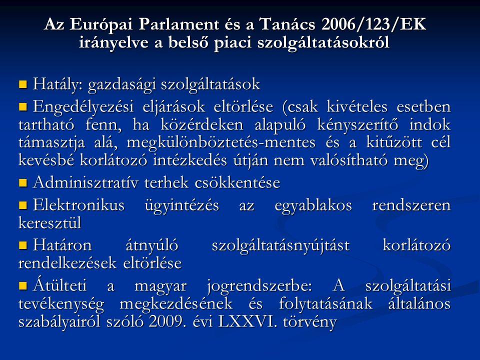 Az Európai Parlament és a Tanács 2006/123/EK irányelve a belső piaci szolgáltatásokról Hatály: gazdasági szolgáltatások Hatály: gazdasági szolgáltatások Engedélyezési eljárások eltörlése (csak kivételes esetben tartható fenn, ha közérdeken alapuló kényszerítő indok támasztja alá, megkülönböztetés-mentes és a kitűzött cél kevésbé korlátozó intézkedés útján nem valósítható meg) Engedélyezési eljárások eltörlése (csak kivételes esetben tartható fenn, ha közérdeken alapuló kényszerítő indok támasztja alá, megkülönböztetés-mentes és a kitűzött cél kevésbé korlátozó intézkedés útján nem valósítható meg) Adminisztratív terhek csökkentése Adminisztratív terhek csökkentése Elektronikus ügyintézés az egyablakos rendszeren keresztül Elektronikus ügyintézés az egyablakos rendszeren keresztül Határon átnyúló szolgáltatásnyújtást korlátozó rendelkezések eltörlése Határon átnyúló szolgáltatásnyújtást korlátozó rendelkezések eltörlése Átülteti a magyar jogrendszerbe: A szolgáltatási tevékenység megkezdésének és folytatásának általános szabályairól szóló 2009.