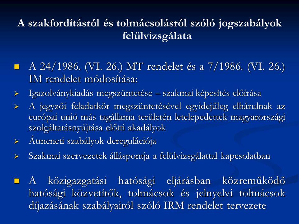A szakfordításról és tolmácsolásról szóló jogszabályok felülvizsgálata A 24/1986.