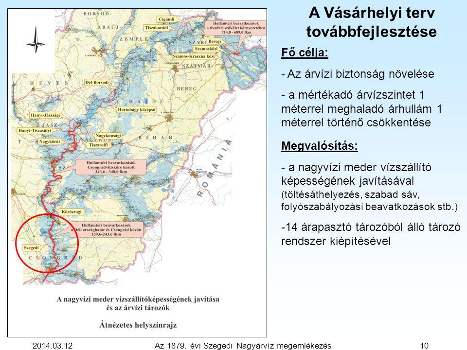 2014.03.12 Az 1879. évi Szegedi Nagyárvíz megemlékezés 10 Fő célja: - Az árvízi biztonság növelése - a mértékadó árvízszintet 1 méterrel meghaladó árh