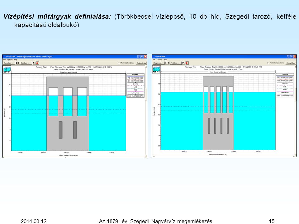 2014.03.12 Az 1879. évi Szegedi Nagyárvíz megemlékezés 15 Vízépítési műtárgyak definiálása: (Törökbecsei vízlépcső, 10 db híd, Szegedi tározó, kétféle