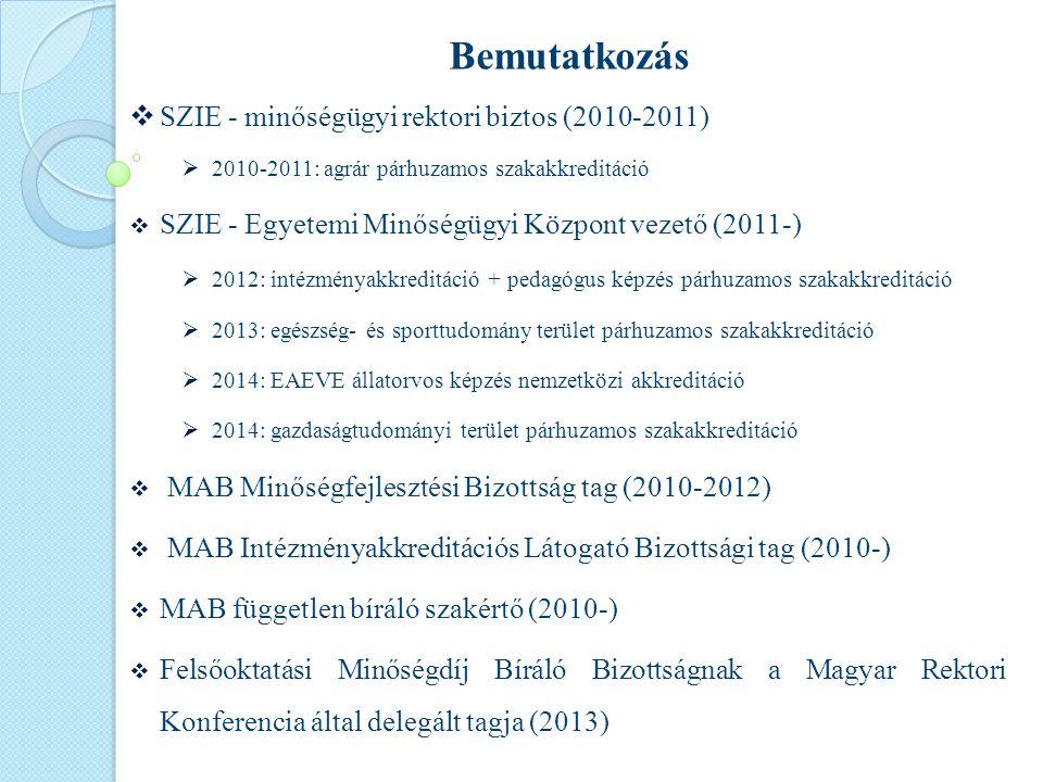 Bemutatkozás  SZIE - minőségügyi rektori biztos (2010-2011)  2010-2011: agrár párhuzamos szakakkreditáció  SZIE - Egyetemi Minőségügyi Központ vezető (2011-)  2012: intézményakkreditáció + pedagógus képzés párhuzamos szakakkreditáció  2013: egészség- és sporttudomány terület párhuzamos szakakkreditáció  2014: EAEVE állatorvos képzés nemzetközi akkreditáció  2014: gazdaságtudományi terület párhuzamos szakakkreditáció  MAB Minőségfejlesztési Bizottság tag (2010-2012)  MAB Intézményakkreditációs Látogató Bizottsági tag (2010-)  MAB független bíráló szakértő (2010-)  Felsőoktatási Minőségdíj Bíráló Bizottságnak a Magyar Rektori Konferencia által delegált tagja (2013)