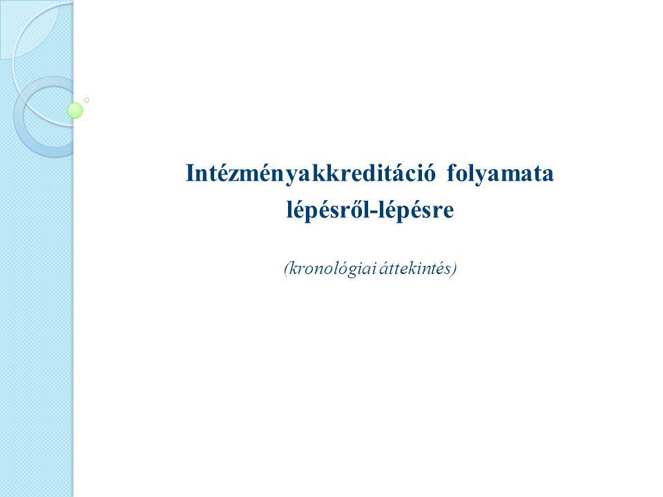 Intézményakkreditáció folyamata lépésről-lépésre (kronológiai áttekintés)