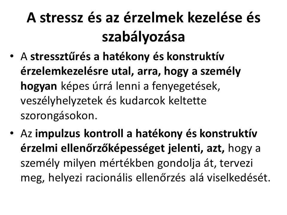 A stressz és az érzelmek kezelése és szabályozása A stressztűrés a hatékony és konstruktív érzelemkezelésre utal, arra, hogy a személy hogyan képes úrrá lenni a fenyegetések, veszélyhelyzetek és kudarcok keltette szorongásokon.