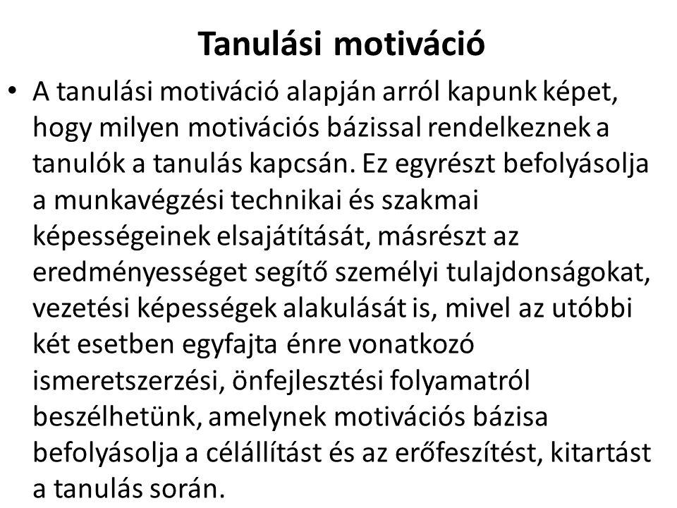 Tanulási motiváció A tanulási motiváció alapján arról kapunk képet, hogy milyen motivációs bázissal rendelkeznek a tanulók a tanulás kapcsán.