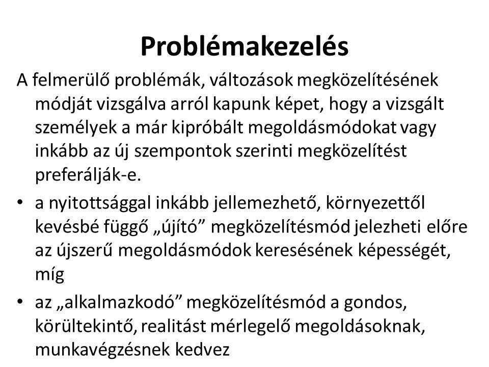Problémakezelés A felmerülő problémák, változások megközelítésének módját vizsgálva arról kapunk képet, hogy a vizsgált személyek a már kipróbált megoldásmódokat vagy inkább az új szempontok szerinti megközelítést preferálják-e.