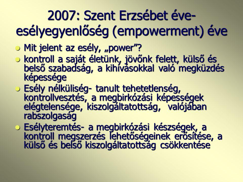 """2007: Szent Erzsébet éve- esélyegyenlőség (empowerment) éve Mit jelent az esély, """"power ."""