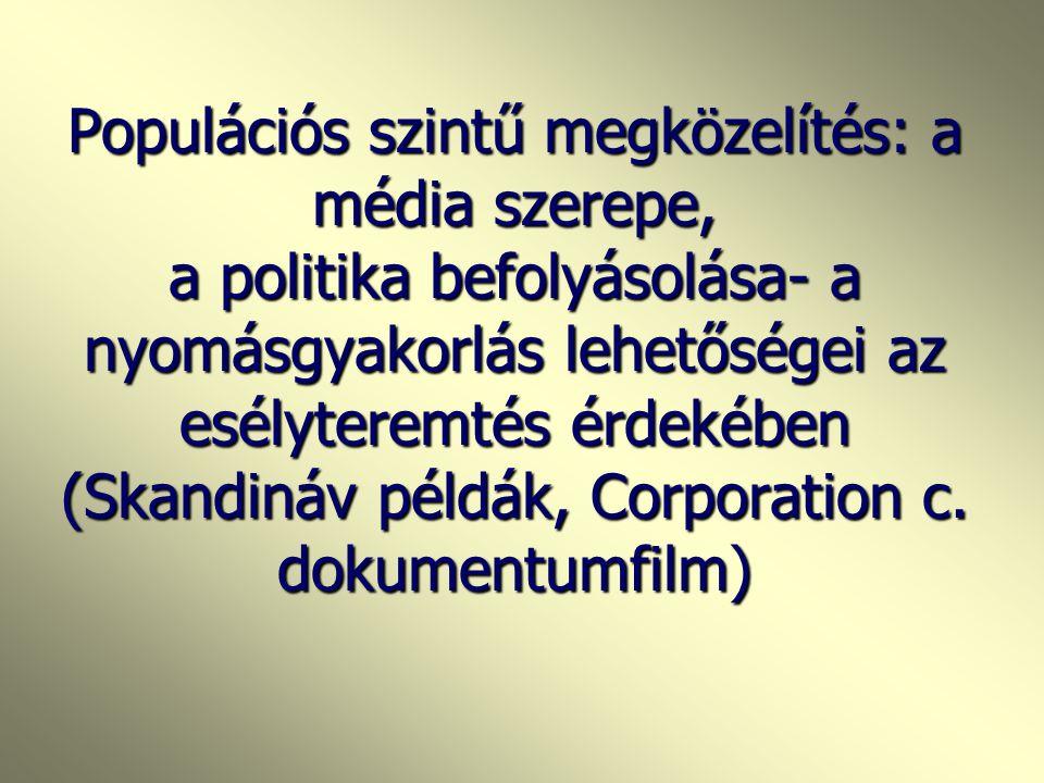 A munkahelyi stressz következményei (EU deklaráció) Önkárosító magatartásformák (dohányzás, alkohol, drog) Önkárosító magatartásformák (dohányzás, alk