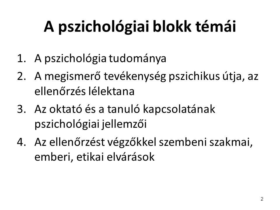 A pszichológiai blokk témái 1.A pszichológia tudománya 2.A megismerő tevékenység pszichikus útja, az ellenőrzés lélektana 3.Az oktató és a tanuló kapc