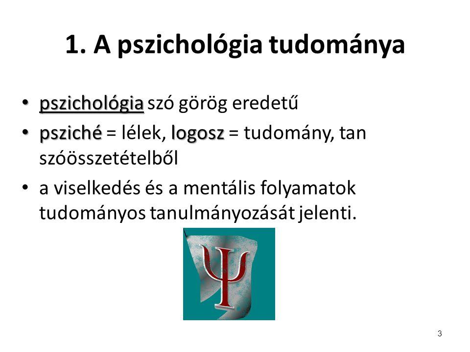 1. A pszichológia tudománya pszichológia pszichológia szó görög eredetű pszichélogosz psziché = lélek, logosz = tudomány, tan szóösszetételből a visel