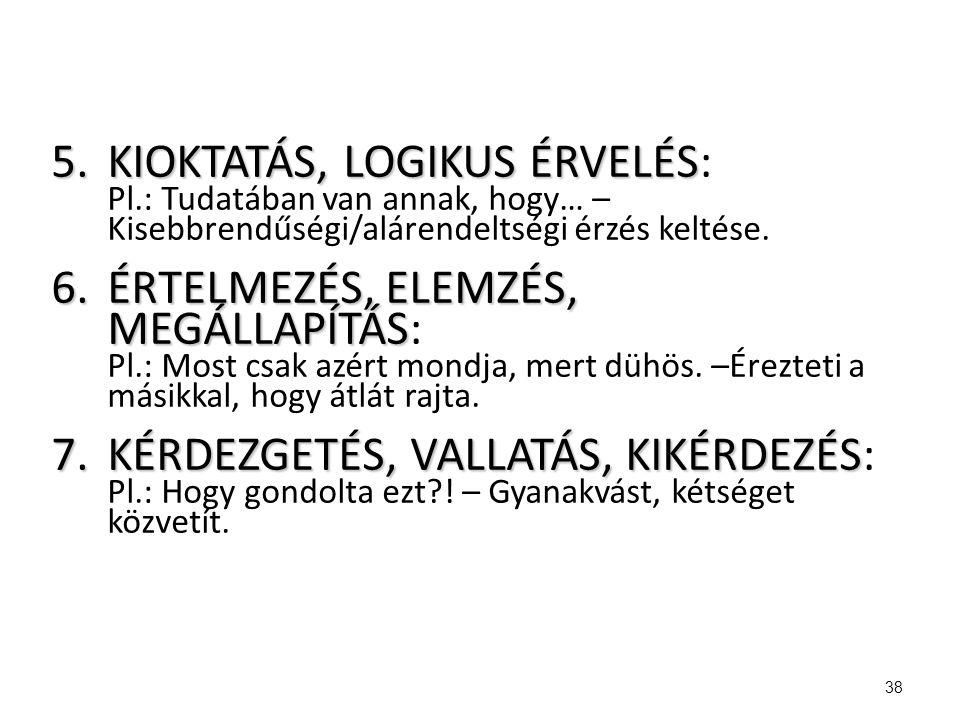 5.KIOKTATÁS, LOGIKUS ÉRVELÉS 5.KIOKTATÁS, LOGIKUS ÉRVELÉS: Pl.: Tudatában van annak, hogy… – Kisebbrendűségi/alárendeltségi érzés keltése. 6.ÉRTELMEZÉ