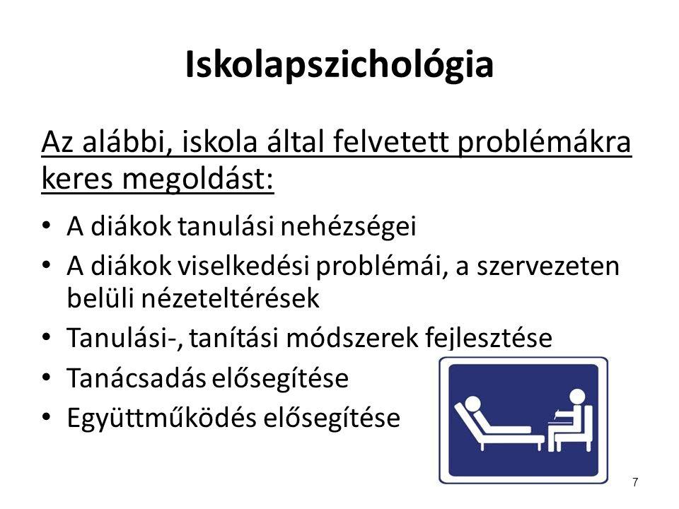 Iskolapszichológia Az alábbi, iskola által felvetett problémákra keres megoldást: A diákok tanulási nehézségei A diákok viselkedési problémái, a szerv