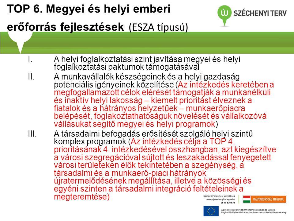 TOP 6. Megyei és helyi emberi erőforrás fejlesztések (ESZA típusú) I.A helyi foglalkoztatási szint javítása megyei és helyi foglalkoztatási paktumok t