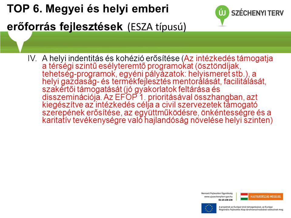TOP 6. Megyei és helyi emberi erőforrás fejlesztések (ESZA típusú) IV. A helyi indentitás és kohézió erősítése (Az intézkedés támogatja a térségi szin