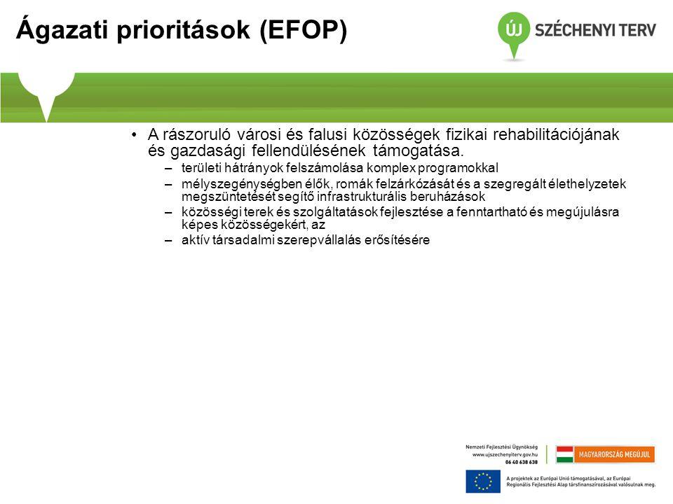 Ágazati prioritások (EFOP) A rászoruló városi és falusi közösségek fizikai rehabilitációjának és gazdasági fellendülésének támogatása.