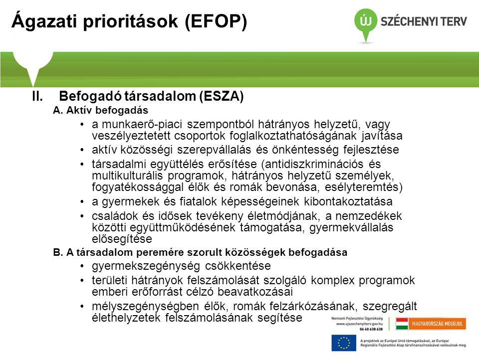 Ágazati prioritások (EFOP) II.Befogadó társadalom (ESZA) A. Aktív befogadás a munkaerő-piaci szempontból hátrányos helyzetű, vagy veszélyeztetett csop
