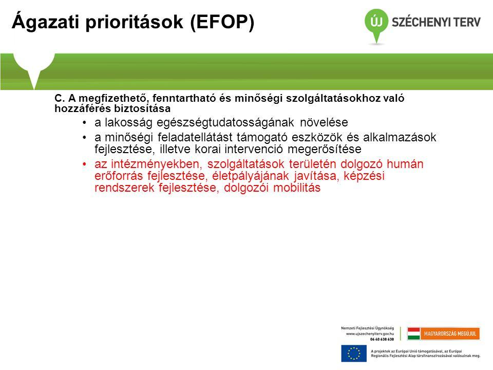 Ágazati prioritások (EFOP) C. A megfizethető, fenntartható és minőségi szolgáltatásokhoz való hozzáférés biztosítása a lakosság egészségtudatosságának