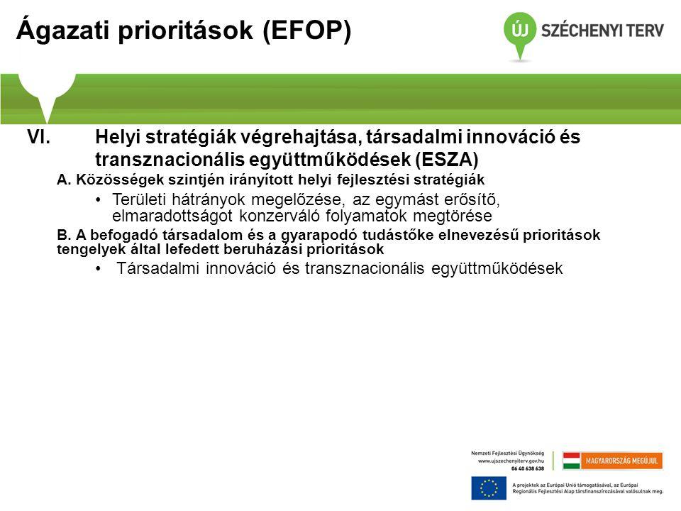 Ágazati prioritások (EFOP) VI. Helyi stratégiák végrehajtása, társadalmi innováció és transznacionális együttműködések (ESZA) A. Közösségek szintjén i